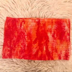 Orange Tie-Dye Tube Top 🍊